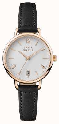 Jack Wills 女装onslow白色表盘黑色皮表带 JW006BKRS
