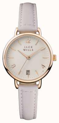 Jack Wills 女装onslow奶油色表盘粉红色皮革表带 JW006PKRS