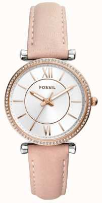 Fossil 女式米色真皮表带不锈钢银色表盘 ES4484