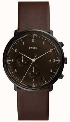 Fossil 男士棕色皮表带不锈钢表壳棕色表盘 FS5485