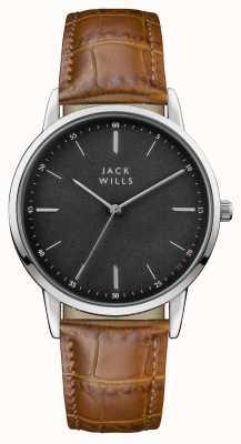 Jack Wills 男士fortescue黑色表盘棕色皮革表带 JW011BKBR