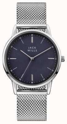Jack Wills 男士fortescue蓝色表盘不锈钢网状手链 JW011SSBL