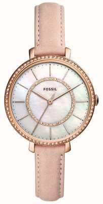 Fossil 女式米色真皮表带不锈钢珍珠母贝 ES4455