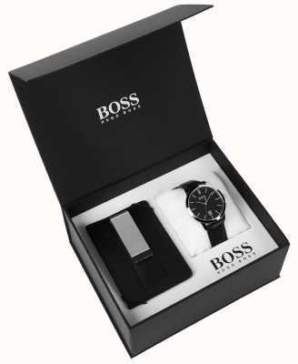 Hugo Boss 男士盒装钱夹经典黑色表盘黑色皮革 1570065