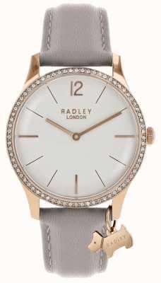Radley 女士腕表玫瑰金表壳灰色皮表带 RY2702