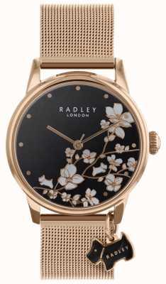 Radley 女士腕表拖尾花网眼表带黑色表盘 RY4346
