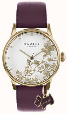 Radley 女士们观看紫色花卉皮革表带 RY2688