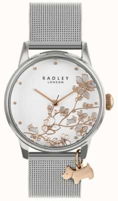Radley 女士们|不锈钢银网手链|白色表盘| RY4347S