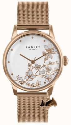 Radley 女士玫瑰金镀金不锈钢网手链手表 RY4348