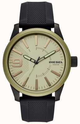 Diesel 男士锉表黑色橡胶表带 DZ1875