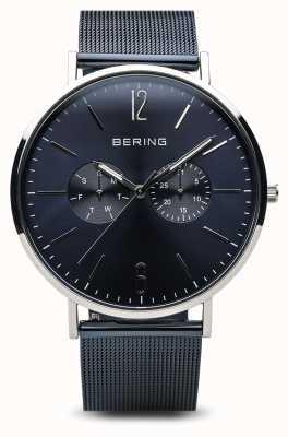 Bering 经典|抛光银|日期蓝色 14240-303