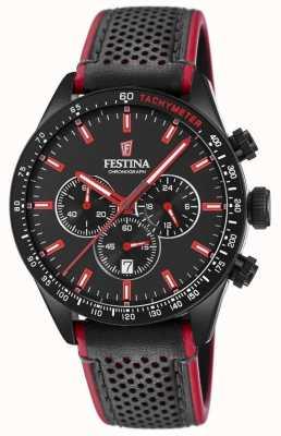 Festina 男士计时码表黑色表盘黑色皮表带 F20359/4
