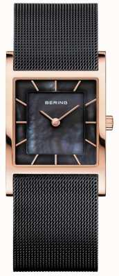 Bering 女式黑色网眼手链黑色珍珠贝母表盘 10426-166-S