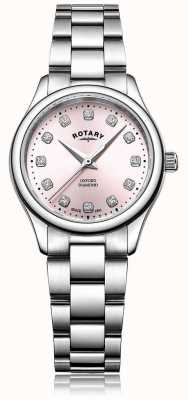 Rotary 女士牛津钻粉色表盘不锈钢表链 LB05092/07/D