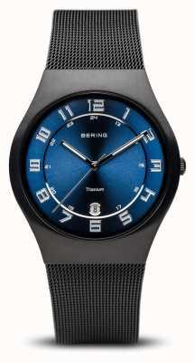 Bering 钛|拉丝黑色蓝色表盘 11937-227