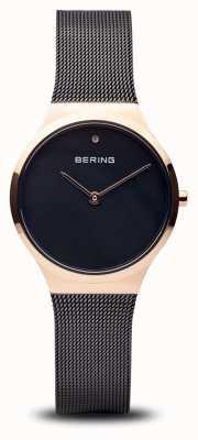 Bering 经典|抛光黑玫瑰金,黑色的脸 12131-166