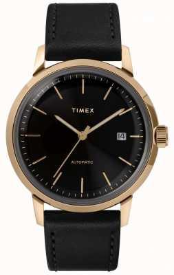 Timex Marlin男士自动黑色皮革表带手表 TW2T22800