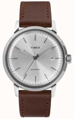 Timex 男士自动棕色皮革表带银色表盘 TW2T22700