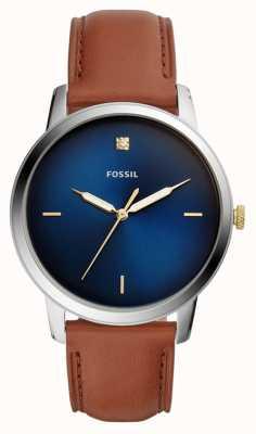Fossil 男士极简主义腕表棕色皮革表带蓝色表盘 FS5499