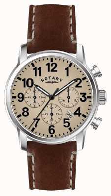 Rotary 男士计时码表石英皮表带白色表盘 GS00430/31