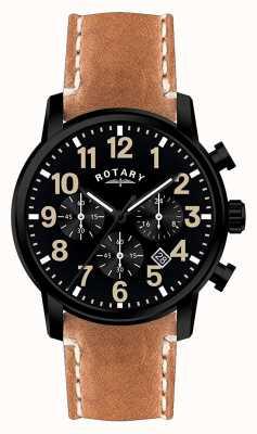 Rotary 男士计时码表石英皮表带黑色表盘 GS00433/04