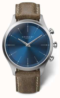 Kronaby 41mm锡克尔蓝色表盘松露皮革表带A1000-3759 S3759/1