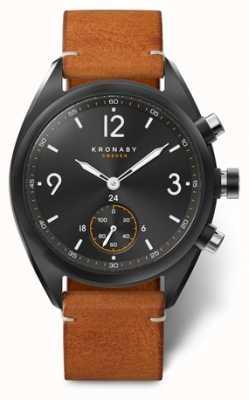 Kronaby 男士apex 41蓝色黑色表盘,棕色皮革a1000-3116 S3116/1