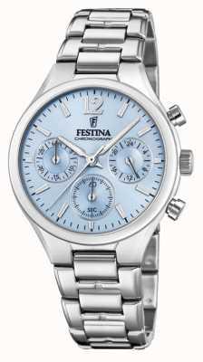 Festina 女式男友计时码表不锈钢蓝色表盘 F20391/3