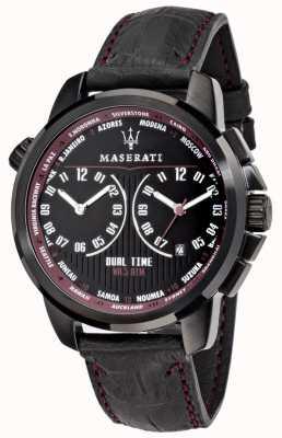 Maserati 男士成功44毫米|黑色表盘|黑色皮革表带 R8851121002