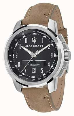 Maserati 男士成功44毫米|黑色表盘|棕褐色皮革表带 R8851121004