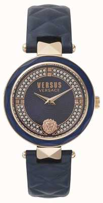 Versus Versace 女士考文特花园|蓝色施华洛世奇表盘蓝色皮革 VSPCD2817