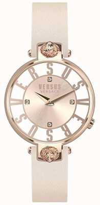 Versus Versace 女装kristenhof |粉色/白色表盘|粉色皮革表带 VSP490318