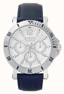 Versus Versace 男士斯腾伯格|银色表盘|蓝色皮革表带 VSP520118
