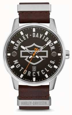 Harley Davidson 男士棕色皮革表带高清品牌表盘 76B178