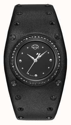 Harley Davidson 女士铆钉皮革手镯|黑色表盘 78L128
