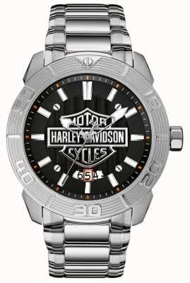 Harley Davidson 男士不锈钢手链|黑色表盘 76B169