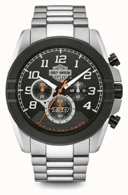 Harley Davidson 男士计时码表|黑色表盘|双色不锈钢 76B175