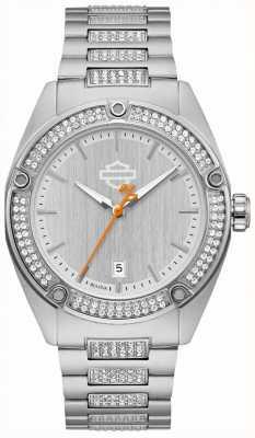 Harley Davidson 女士水晶套装|不锈钢手链|银色表盘 76L187