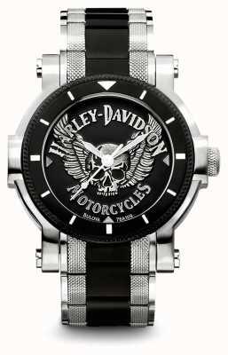Harley Davidson 男士双色不锈钢手链|黑色表盘 78A109