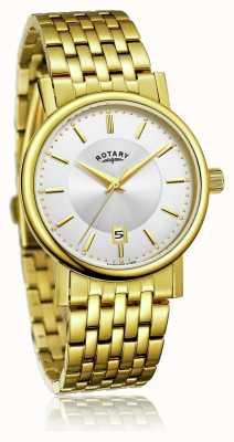 Rotary 男士超薄镀金不锈钢手链|银色表盘 GB03635/03