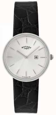 Rotary 男士黑色皮革表带 银色表盘 GS21226/06