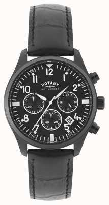 Rotary 男士计时码表 黑色皮革表带 黑色表盘 GS00110/04