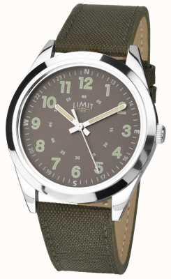 Limit 男士|军用风格手表|卡其绿色表带和绿色表盘 5951