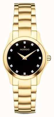 Movado |女士moisan手表|金色调|黑色表盘| 0607028