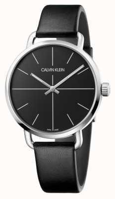 Calvin Klein  男士们甚至看着黑色皮革表带 黑色表盘  K7B211CZ