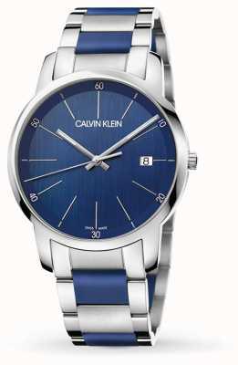 Calvin Klein |男子城市扩建|双色不锈钢|蓝色表盘 K2G2G1VN