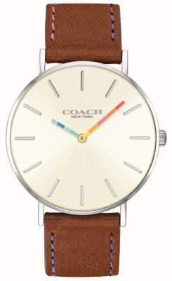 Coach |女士佩里手表|棕色皮革表带白色表盘| 14503032