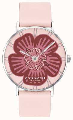 Coach  女士佩里手表 粉色皮革表带 花卉表盘  14503231