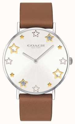Coach |女士佩里手表|棕色皮革表带| 14503242