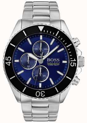 Boss |男装海洋版|银色不锈钢|蓝色表盘| 1513704